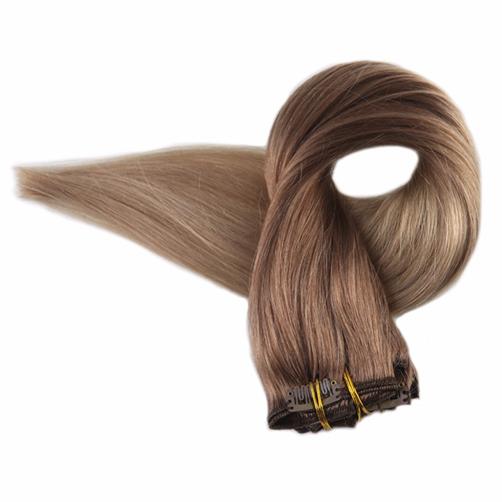 Full Shine Blond Ombre Clip In Human Hair Extensions Blond Roots Color 12 Fading To 24 7Pcs 100g 100%Remy Hair Clip In Extension