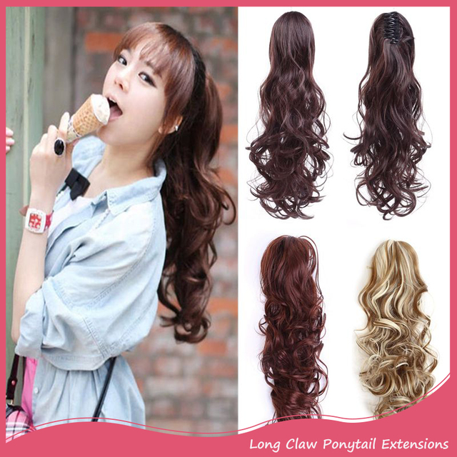 1pc Natural Hair Extension Ponytail 20inch 50cm Long Curly Claw In