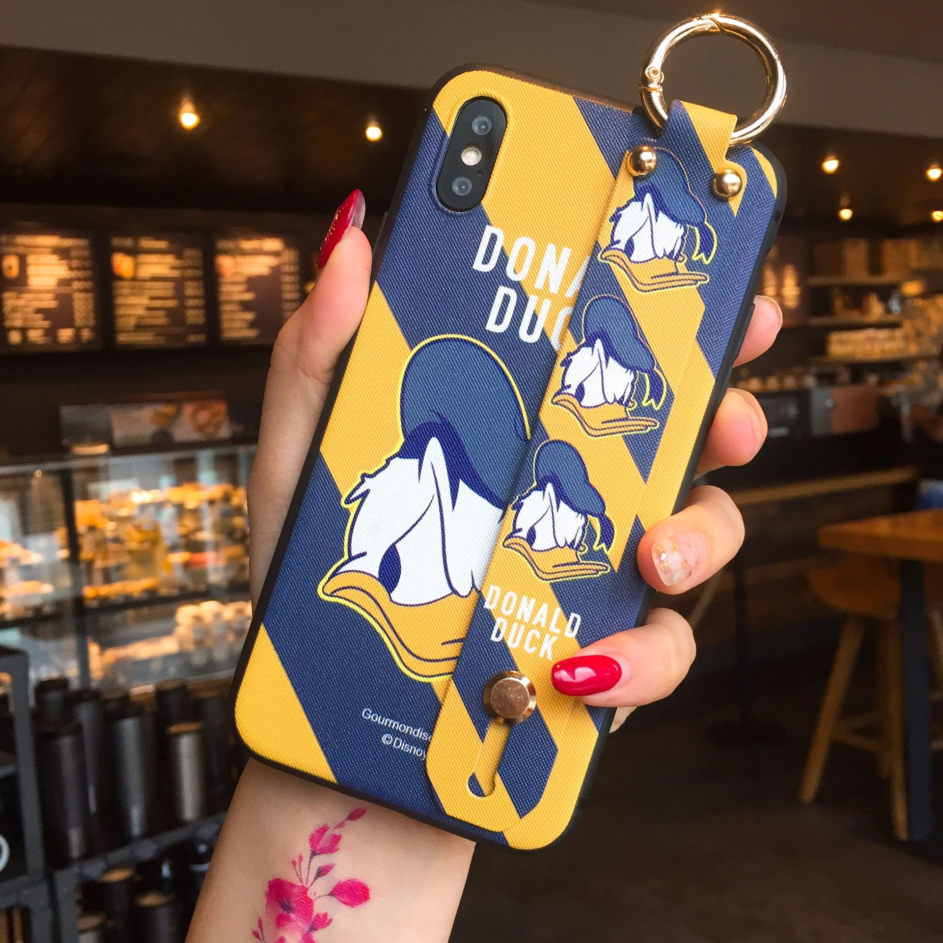 IRONGEER Cartoon Donald Duck Telefon Fall für <font><b>iPhone</b></font> 6S Plus 7 8 Plus weiche abdeckung für <font><b>iPhone</b></font> <font><b>X</b></font> XS MAX Armband Coque image