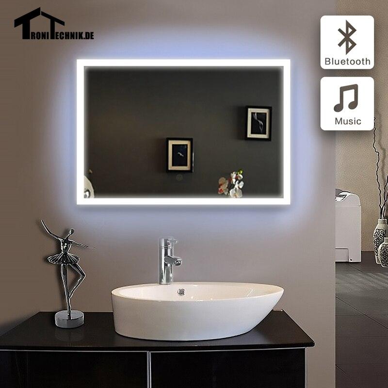 90 240 v 60x80 cm illuminato specchi a parete per bagno bluetooth specchio da bagno