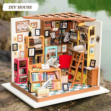DIY Miniature Doll House With 3D Furnitures Wooden Dollhouse Handmade Toys Gift For Kids Sam's Bookstore DG102 #E