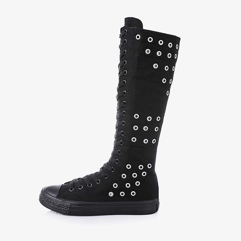 Женские ботинки до середины икры на плоской подошве; женская парусиновая обувь на платформе со шнуровкой и молнией; женская Повседневная дышащая обувь с перфорацией; большие размеры