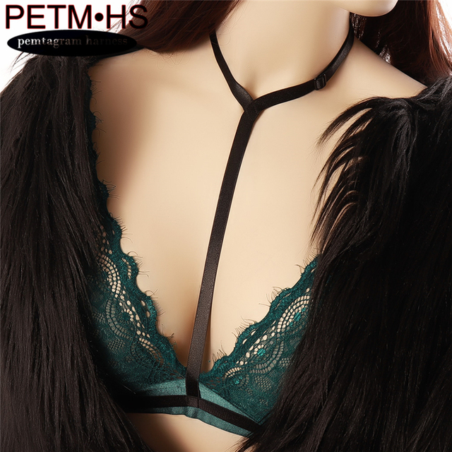 Black Sexy Soft Fashion Adjustable Elastic Body Harness Strappy Tops Bustier Bondage Harajuku Goth Halloween Carnival
