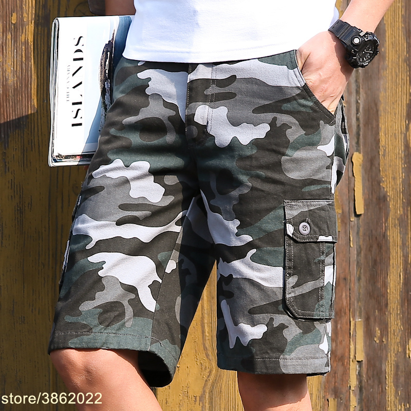 2018 Summer Fashion New Mens Boutique Camo Tooling Shorts / Mens straight camouflage overalls