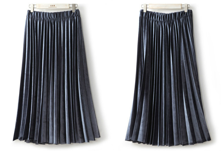 Women Long Metallic Silver Maxi Pleated Skirt Midi Skirt High Waist Elascity Casual Party Skirt 1