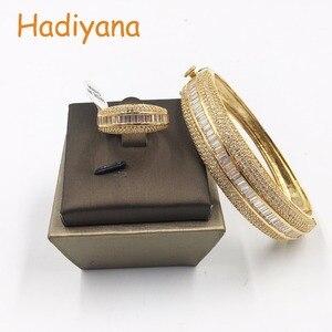 Image 4 - Женский сверкающий Большой браслет HADIYANA, сияющий кубический цирконий, комплект из 2 предметов, браслет и кольцо в подарок для специальной женщины, SZ028