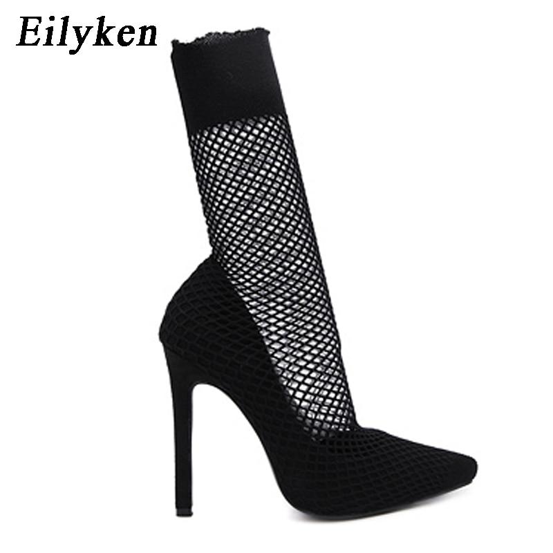 Talon Stiletto Black Chaussette 2018 Gladiateur Nouveau Sur Eilyken Pompes Haute Botas Maille Slip Cheville Femmes Bottes Noir Bout Pointu 4gqPpw