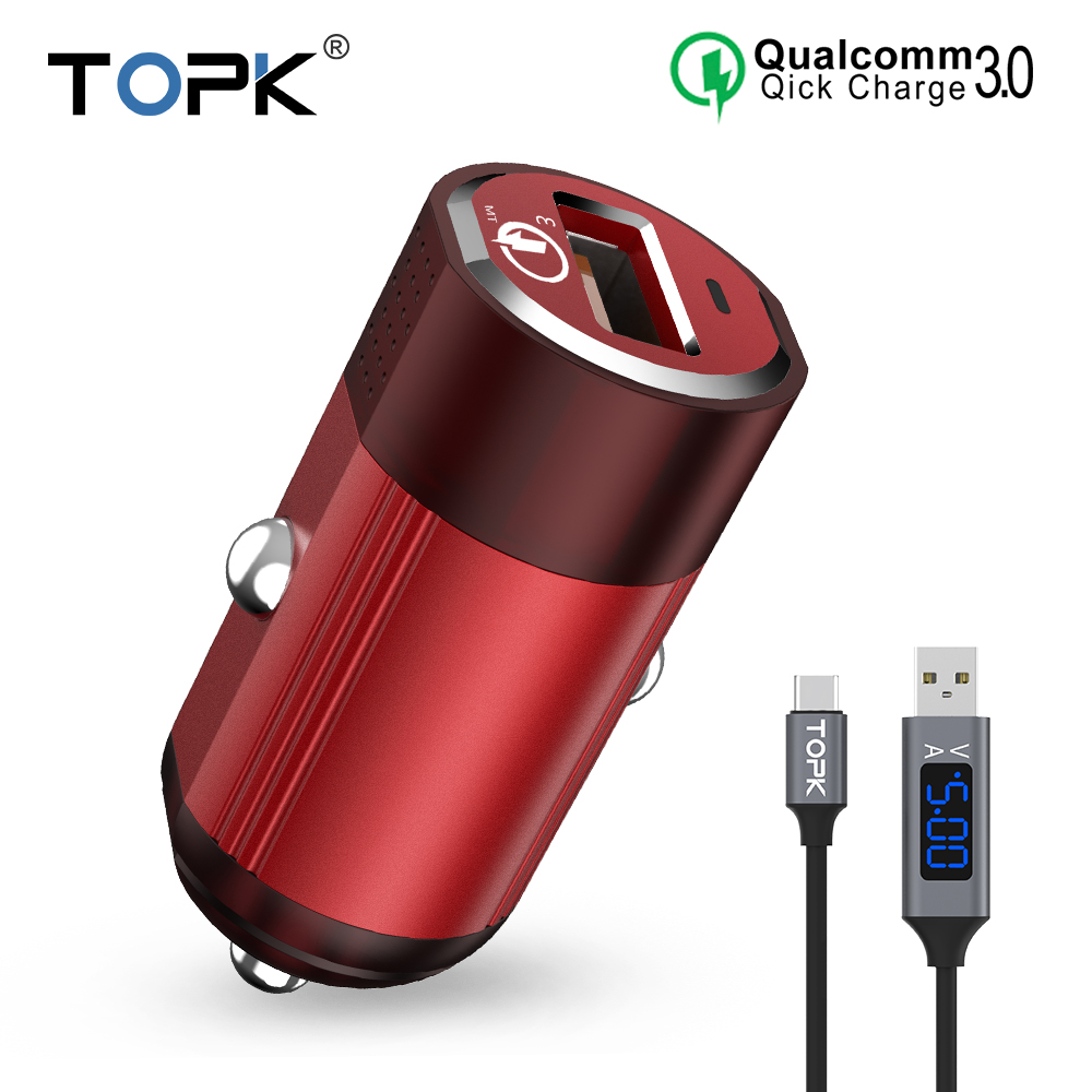 TOPK Mini Car Charger 18W Quick Charge 3.0 Car-Charger For Samsung Xiaomi Huawei LG Mobi ...
