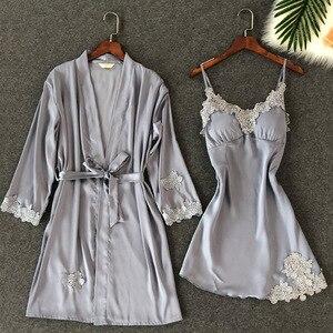 Image 2 - ZOOLIM נשים הלבשת סקסי תחרה Robe & שמלת סטי שינה טרקלין Nightwear חלוק לילה שמלת חלוק פיג מה עם רפידות חזה