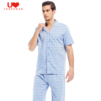 THREEGUN 100 Cotton Mens Plaid Sleep Set Home Wear Lounge Pants Sheer Pajamas Male Sleepwear Vacation