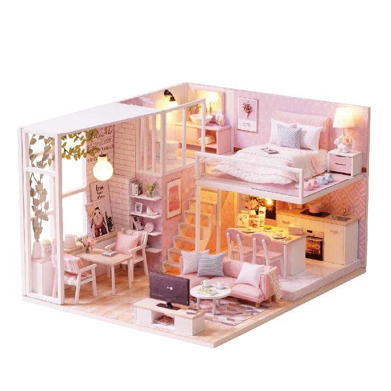 Cute Room DIY Doll House With Furniture LED Light Miniature Wooden Dollhouse Handmade Toys Gift Modern Loft Apartment L022 #E