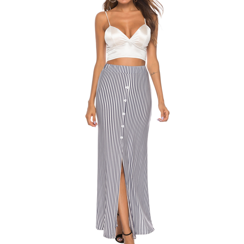 SAGACE Skirt Fashion summer Women Sexy Striped Print long skirt shein Buttons Open Fork vadim Casual Ankle-Length Skirt 423
