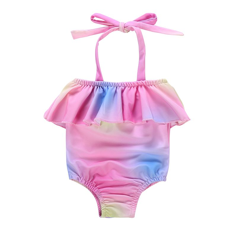 Baby Girl Dress Halter Tie Swimsuit Baby Color Sling Swimsuit Infant Kids Clothing Swimwear