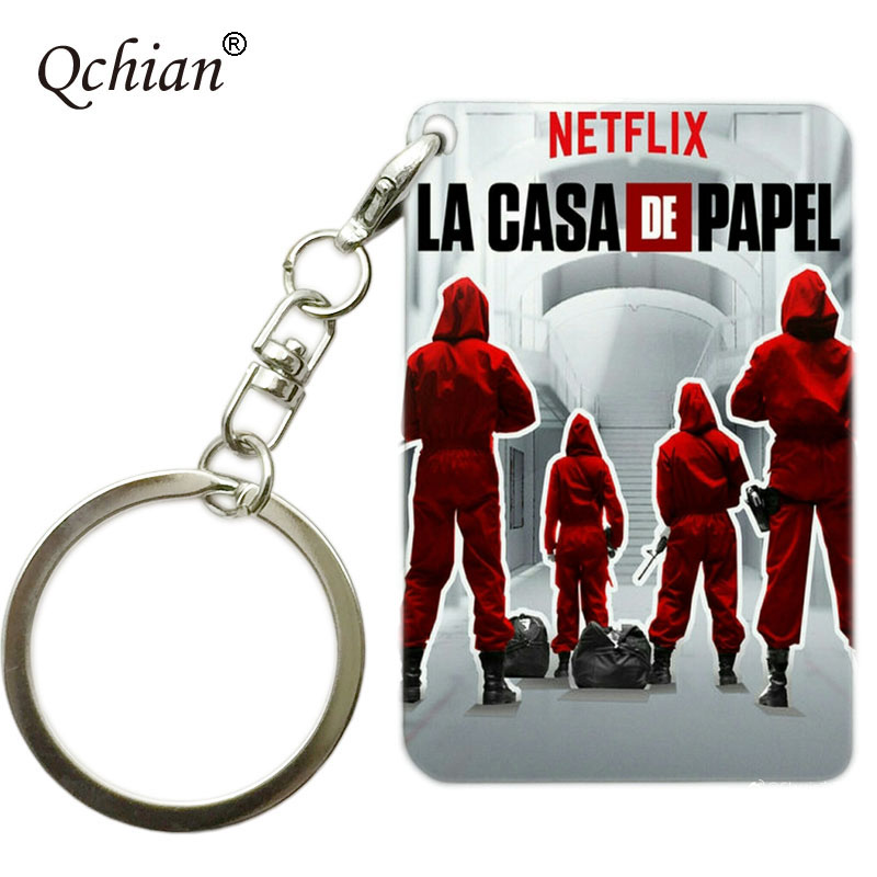 Custom House of Paper La Casa De Papel  Color Photo Printed Series Car Keychain Jewelry Transparent Acrylic Or Wooden Keychain