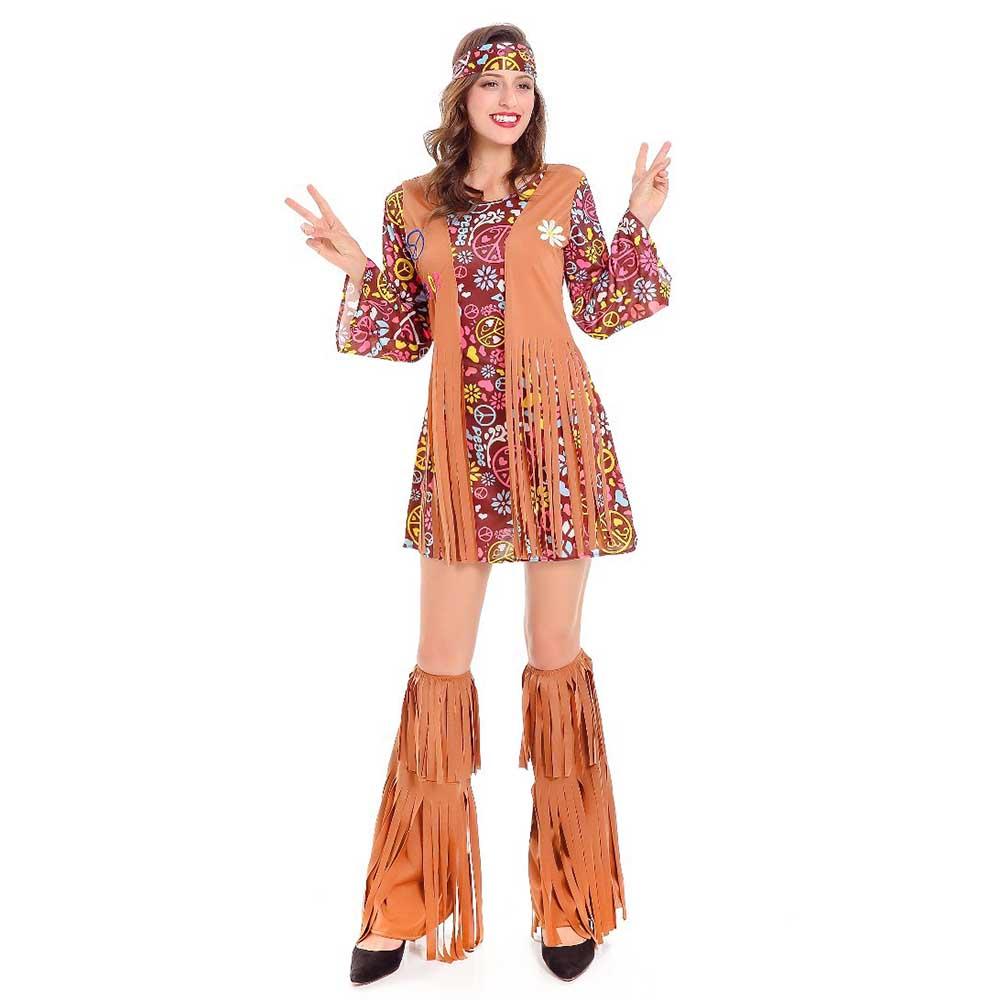3c3e2fd37744 Adulto anni '60 Groovy Hippie Costume Flower Power Disco Costume Delle  Signore 70 s Diva Operato Del Vestito di Halloween Costumi per Le Donne in  Adulto ...
