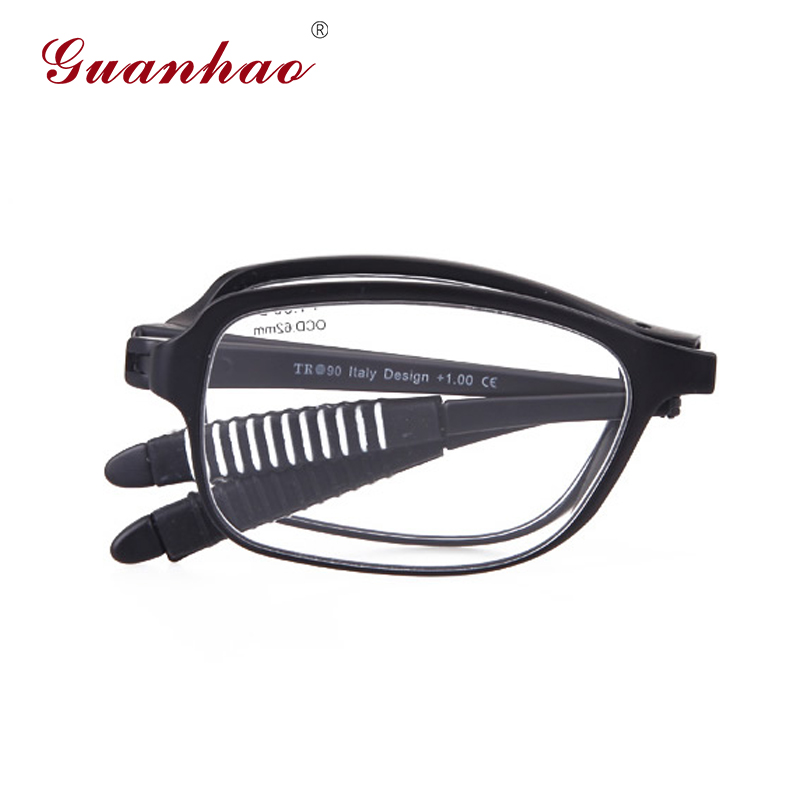 GuanHao Ultralight Folding Reading Glasses Men Women TR90 Frame Resin Lens Light Slim Hyperopia Reading Glasses 1.0 1.5