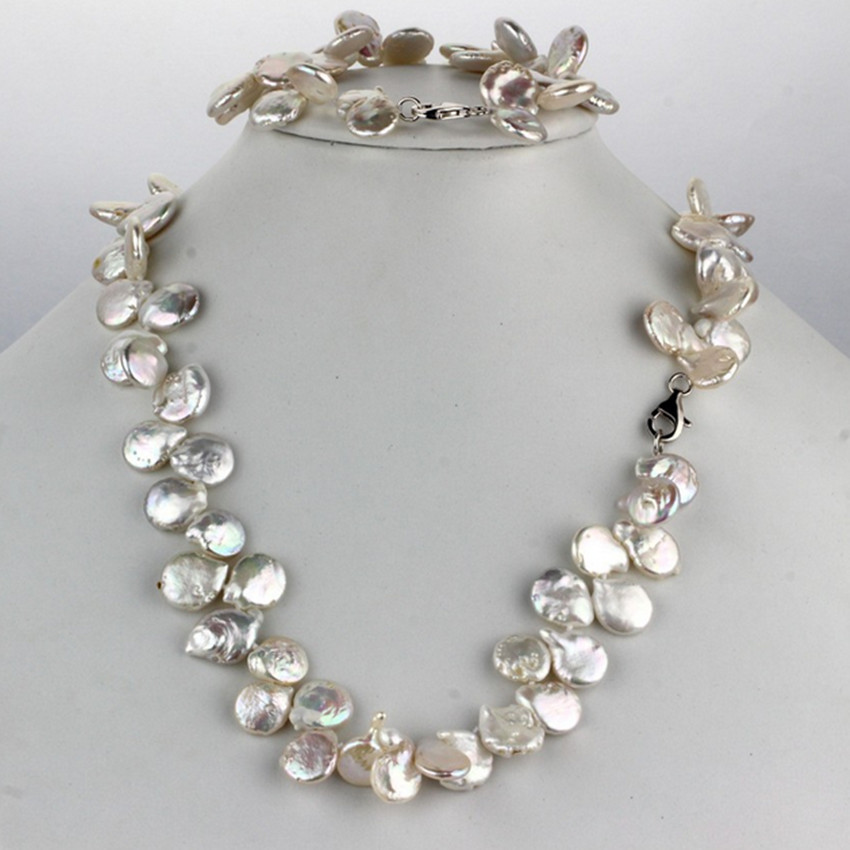 SNH 11-12mm coin AA white 925 Sterling Silver Real Genuine Natural Freshwater Pearl Jewelry Set snh 36inches baroque 11 12mm aa real freshwater natural pearl necklace women fine necklace jewelry pearl 925 sterling silver