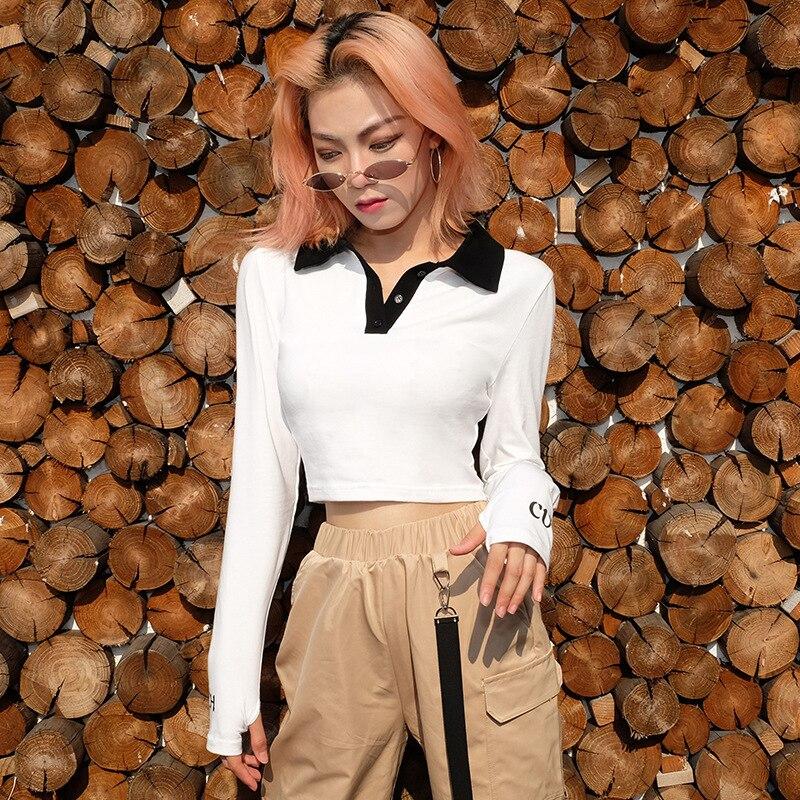Women Buttons Fashion Long Sleeve Crop Top Female T-Shirt 2018 Autumn Slim White T-Shirts For Women Clothig Cotton Tshirt New