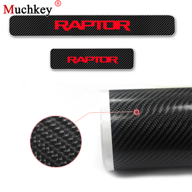 Door Sill Protector For Ford RAPTOR F 150 Carbon Fiber Vinyl Sticker Car Door Sill Welcome Pedal Stickers Car Accessories 4Pcs