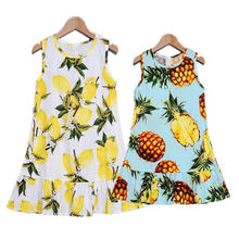 купить Summer Family Matching Clothes Printing Pineapple Lemon Fruit Mommy And Me Clothes Mama And Daughter Dress Mere Fille Outfits по цене 638.86 рублей