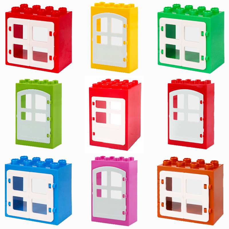 doorframe window room accessory Big size Building Blocks casement Bricks kid classic diy Toys Compatible with Duplo house Sets kid s home toys large particles circus show animal paradise building blocks large size 39pcs diy brick toy compatible with duplo