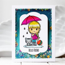 Eastshape Girl Umbrella Cat Stamps and Dies Scrapbooking Clear Stamp Die Cut Sets for Card Making Crafts Metal Cutting