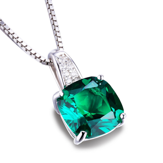 925 Sterling Silver 3.4CT Green Russian Emerald Solitaire Pendant