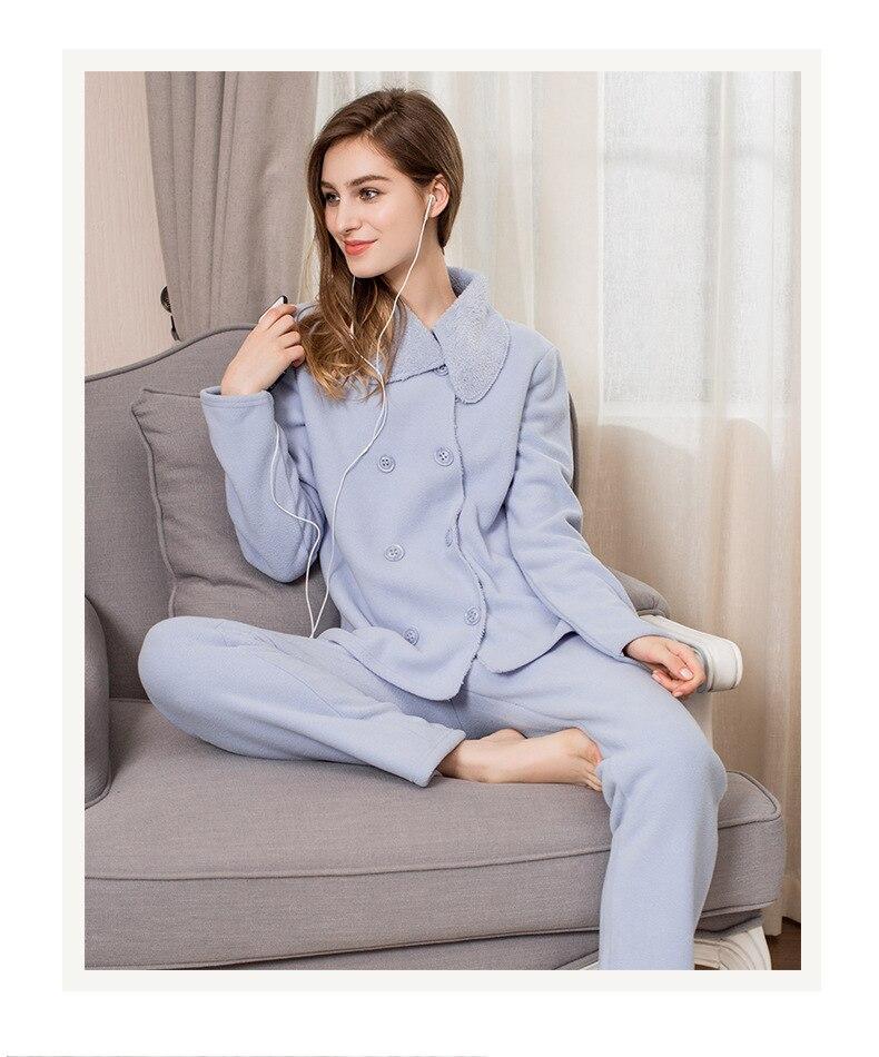Winter Ladies Pajama Sets Women Warm Lambs Sleepwear Suit Female Double Breasted Cardigan Coat +Pants XXL Pijamas
