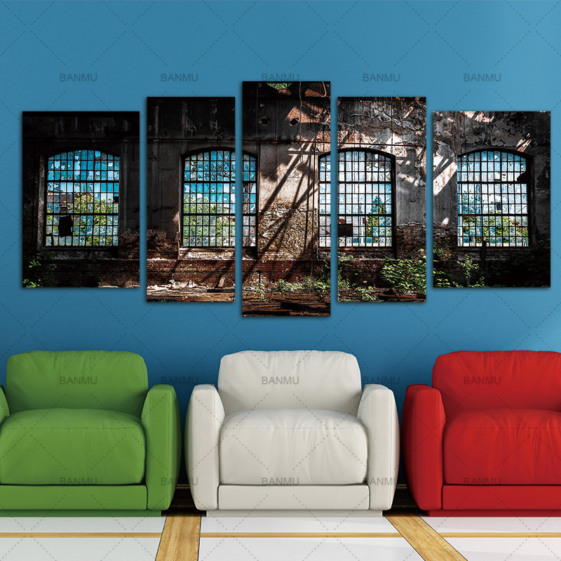 Abandoned Industrial Interior with Bright Light Ruin Window Plant Painting 5 Panels Wall Art Canvas Paintings Wall Home Decor