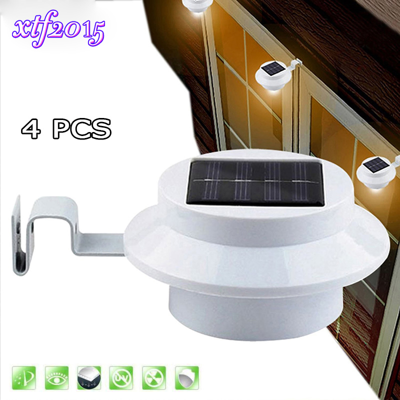 4 PCS LED Solar Gutter Utility Outdoor Light Fence Yard Wall Gutter Pathway Garden Shed Walkways Sun Power Waterproof Lamp fghgf 2018 light sensor 6 led wall light outdoor garden fence ip55 waterproof lamp automatically light gutter fence warm white