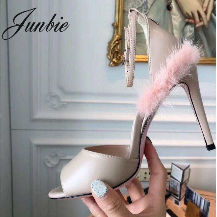 JUNBIE/новые женские летние босоножки из натуральной кожи с натуральным мехом норки, пикантные женские Босоножки с открытым носком и ремешком