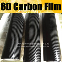 Free shipping 1.52*20M(5FTX65FT) 6D Gloss Carbon Fiber Vinyl Wrap Car Wrapping Film With air free bubbles 6D carbon vinyl Film