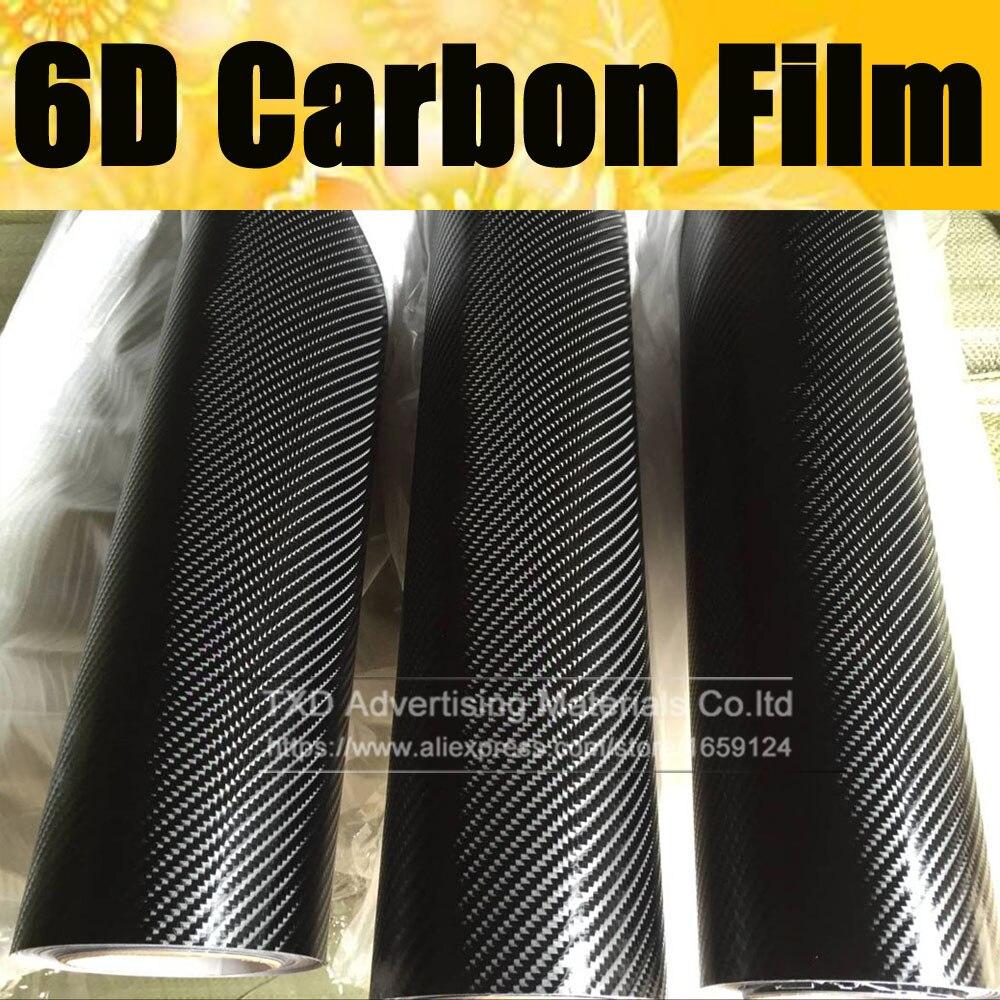 Livraison gratuite 1.52*20 M (5FTX65FT) 6D Film de protection pour voiture en Fiber de carbone brillante avec bulles d'air 6D Film de vinyle carbone
