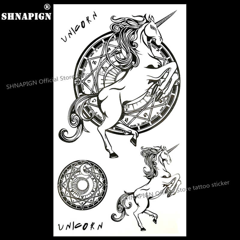 Shnapign Unicorn Pegasus Horse Temporary Tattoo Body Art Arm Flash Tattoo Stickers 17 10cm Waterproof Fake Henna Painless Stickers Fridge Sticker Rhinestonesticker Card Aliexpress