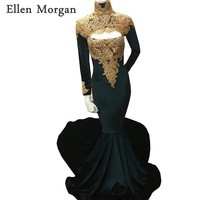 High Neck Long Sleeves Mermaid Prom Dresses 2018 for African Black Girls with Gold Lace Sexy Vestido De Festa for Party Gowns