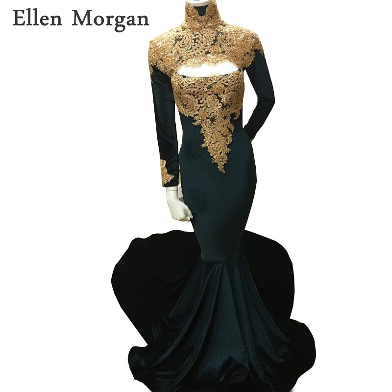b368d978f98eb High Neck Long Sleeves Mermaid Prom Dresses 2019 for African Black Girls  with Gold Lace Sexy Vestido De Festa for Party Gowns