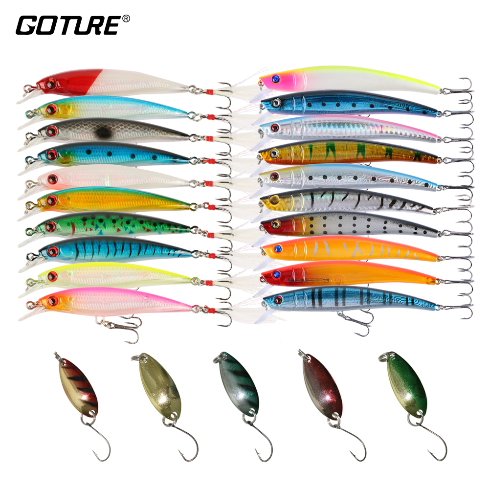 Goture fishing lure set 20 wobblers 5 spoon spinner bait for Spinner fishing lures