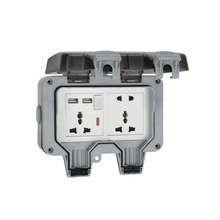 Waterproof Electrical Socket  10A Universal 2 Plug Power Damp Proof Outdoor Outlet With USB