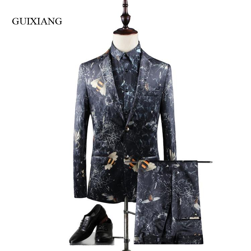 2019 New Arrival Style Men High-end Boutique Suits Coat Business Casual Bee Pattern Two-piece Suit (Jacket And Pants) Size M-3XL