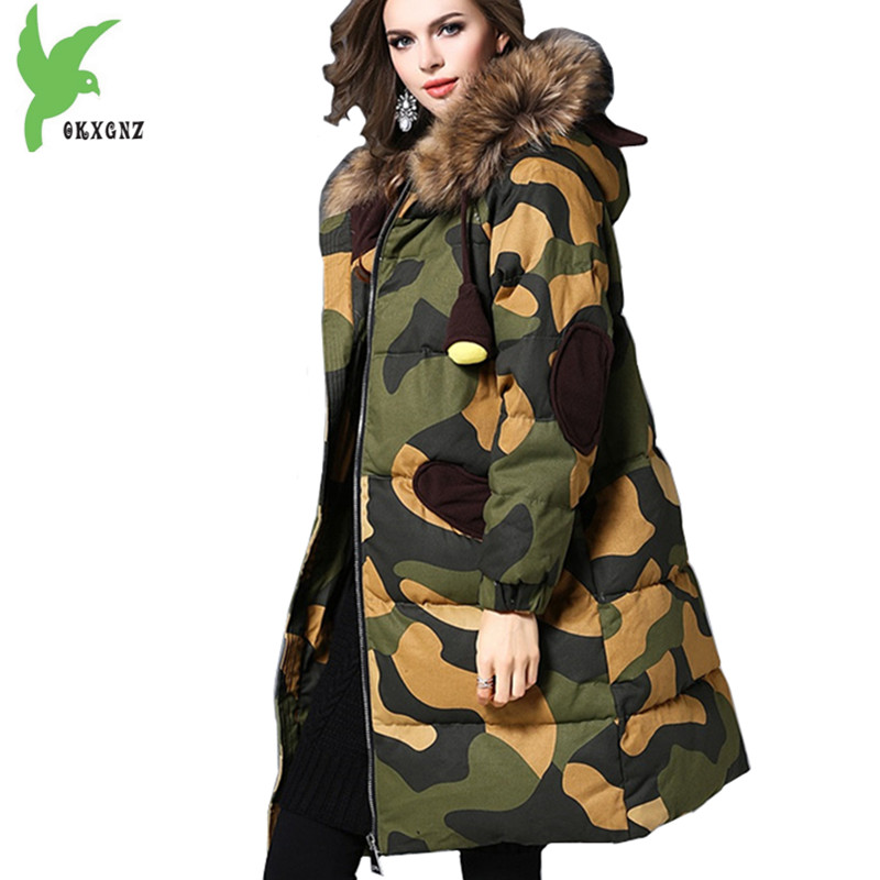 High Quality Women Winter Camouflage Down cotton Jackets Large size Thick Warm Parkas Hooded Raccoon fur collar Coats OKXGNZ1268