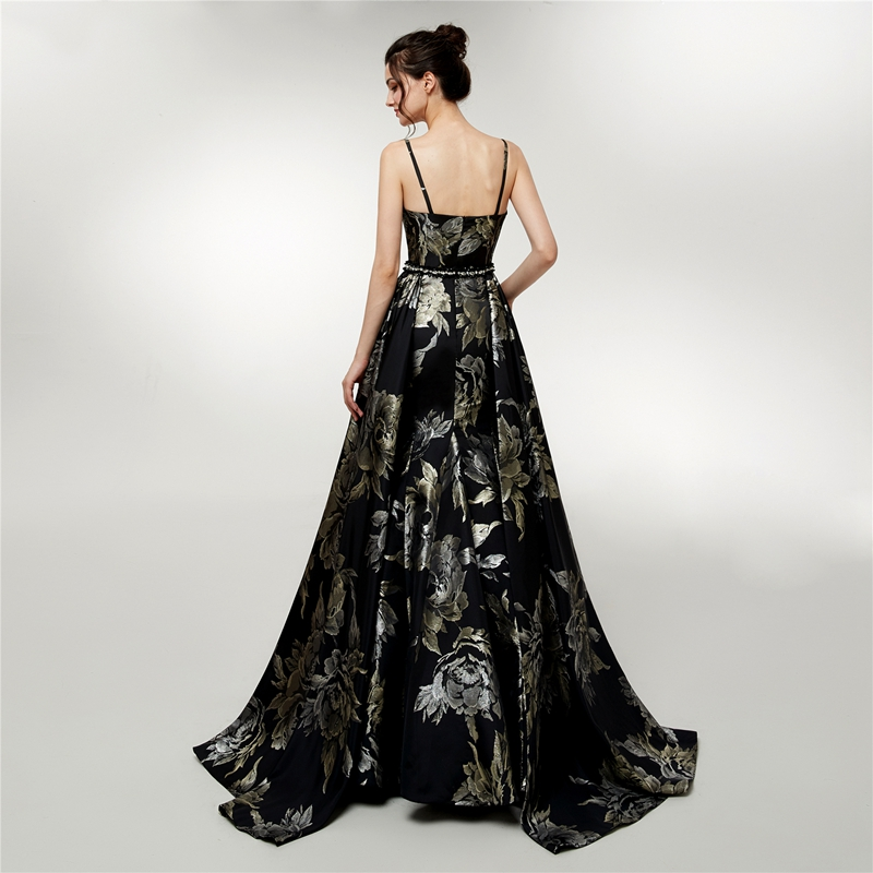 Vintage A Line  Evening Dress 2019 New Deep V Neck Black Sleeveless Formal Gown Sweetheart Elegant Satin Women estido de festa
