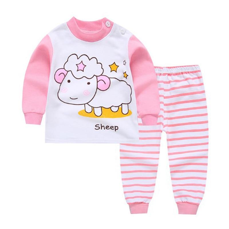 Детская одежда из 2 предметов для маленьких мальчиков и девочек, топ+ штаны, хлопковые пижамы для малышей, одежда для сна - Цвет: 1