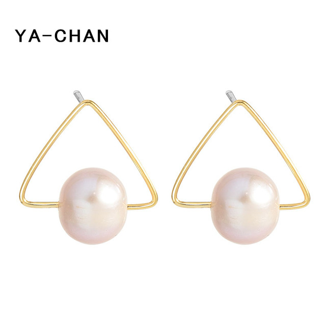 Ya Chan Simple Pearl Stud Earrings 18 K Gold Triangle Shape 925 Sterling Silver