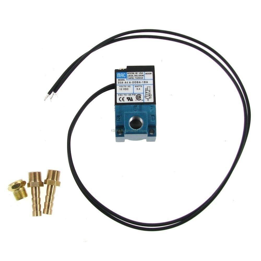 MAC 3 Port Electronic Boost Control Solenoid Valve 35A-ACA-DDBA-1BA 12VDC With Brass Silencer mac 3 port electronic boost control solenoid valve dc24v 12 7w 35a aaa ddfa 1ba clsf