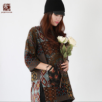 Jiqiuguer Women Coffee Floral Autumn Tops Loose O Neck Print Patchwork Pockets Three quarter Pullover Vintage T Shirts G182Y118