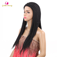 Golden Beauty Long Natural Black Braided Box Braids Wig Synthetic Hair Wig for women 22inch