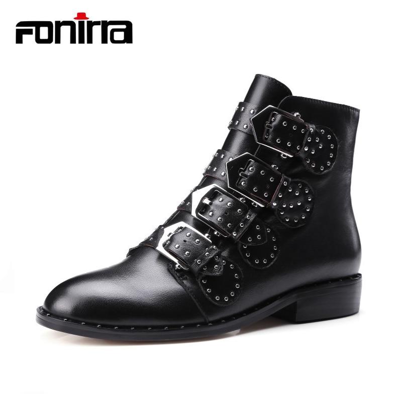 где купить FONIRRA Buckle Rivet Studded Booties Mujer Block Heel Snake Print Ankle Boots Plus Size 35-43 PU Awesome Motorcycle Boots 010 по лучшей цене