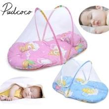 Новая портативная складная детская кровать в горошек на молнии с москитной сеткой, палатка для кроватки, складная переносная Подушка для сна