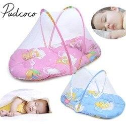 2018 Marca Novo Portátil Dobrável Bebê Crianças Cama Infantil Dot Zipper Mosquito Tenda Net Berço Dormindo Almofada portátil dobrável
