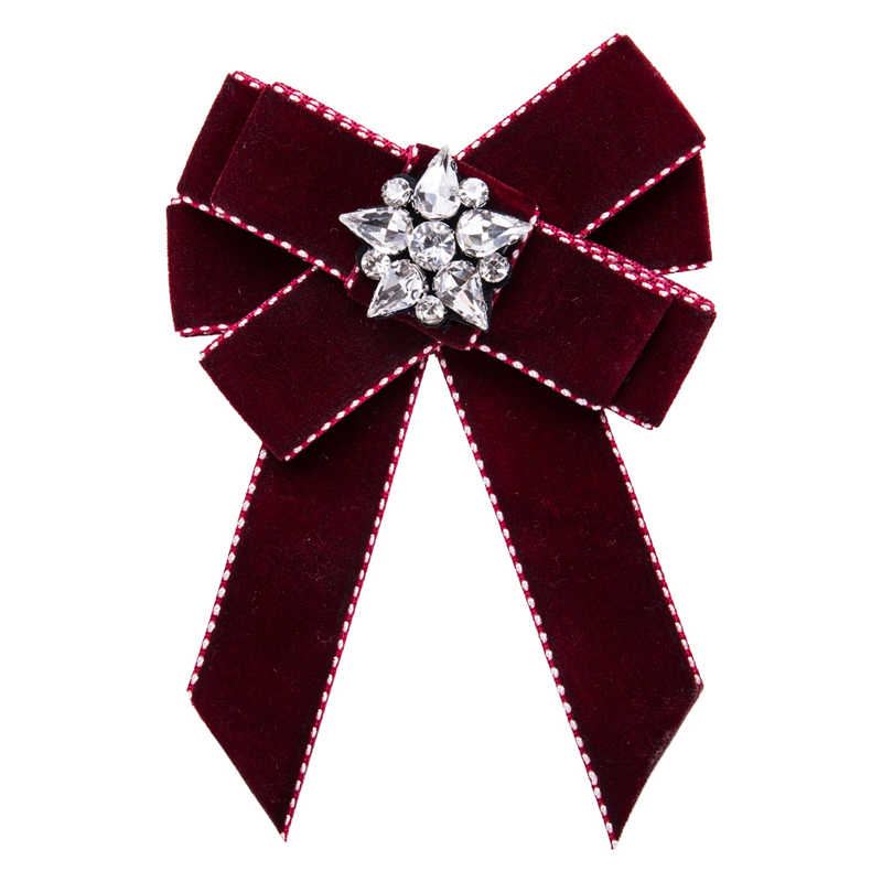 d4d216a7f53 Crystal Bow Brooches For Women Shirt Dress Collar Flannelette Bowknot Bow  Tie Corsage Brooch Pins Jewelry